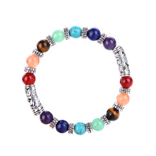 New Hot Bangles Bracelets 8mm Natural Stone Ancient Silver Accessories Yoga Buddhism 7 Chakra Bracelet Explosions for Women 18cm