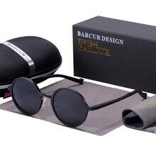 BARCUR lunettes de soleil rondes polarisées marque de luxe hommes lunettes rétro Vintage femmes lunettes de soleil UV400 lunettes