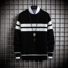 Mens Sweaters Pullover Slim-Fit O-Neck Knitted Long-Sleeve Stripe Casual New Autumn Tracksuit