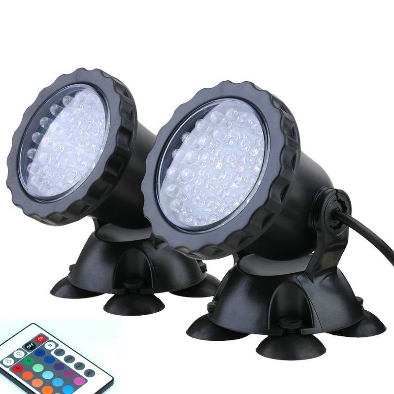 LED RGB Underwater Submersible Spot Light Aquarium Garden Pond Lamps With Remote