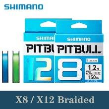 100% オリジナルシマノピットブル 150 メートル 200 メートル X8 X12 グリーンブルー編組線 PE 素材マルチフィラメント釣り糸メイド日本で