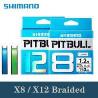 100% Original SHIMANO PITBULL 150M 200M X8 X12 verde azul trenzado cable PE Material multifilamento línea de pesca hecho en Japón