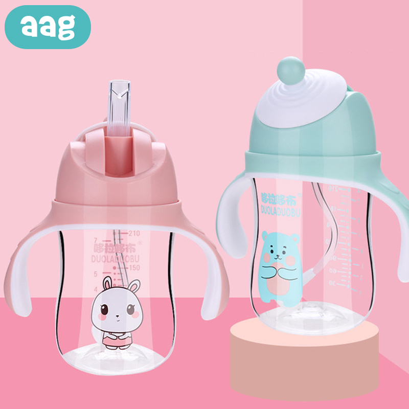 AAG Cartoon Baby Feeding Bottle Tritan Baby Drinker Sippy Training Cup Child Mug Learn Drinking Infant Milk Water Bottle Straw