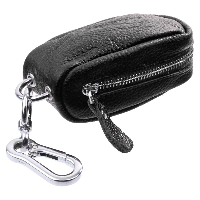 Car Key Bag Household Key Bag Unisex Zipper Bag In PU Leather For Keychain Case For Key / USB / Pieces / Coin-Black