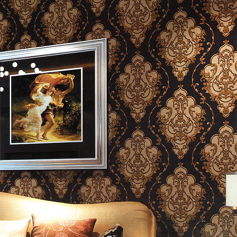 Popular European Damascus Wallpaper 3D Deep Embossed Decorative Wallpaper For Hall Hotel Room 3d TV Sofa Background