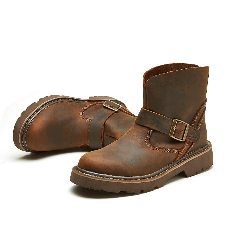 Водонепроницаемые ботинки в байкерском стиле; Мужские ботинки в байкерском стиле с черепом; армейские ботинки; Кожаные Ботинки martin в стиле ... - 5