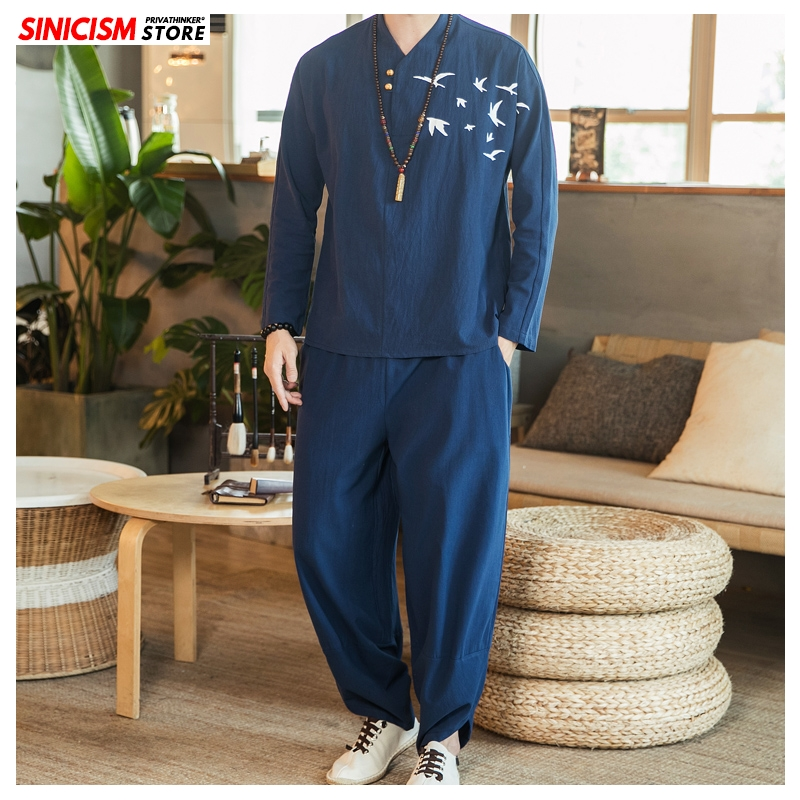 Sinicism Store Chinese Style Tshirt Loose Tracksuit Men 2020 Spring Cotton Linen Mens 2 Piece Sets Male Solid Pants Track Suit