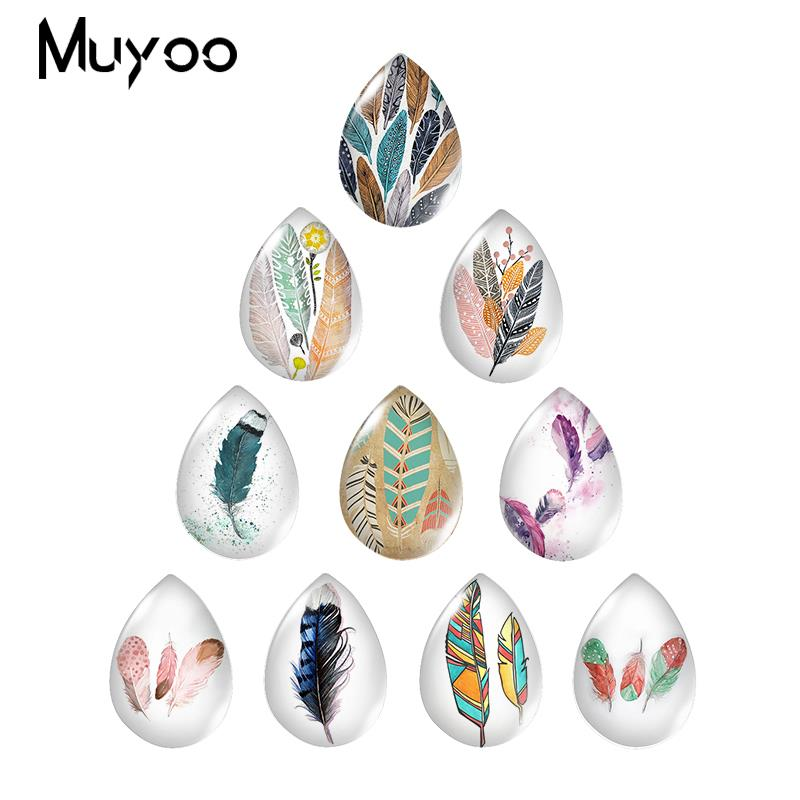 2019 New Feathers Art Glass Cabochon Clolor Feather Tear Drop Cabochons Handmade Photo Jewelry