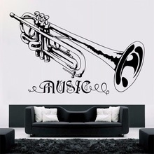 Music Style  Trumpt Wall Sticker Vinyl Art Removable Poster Mural Beauty Fashion Ornament Home Decor W607