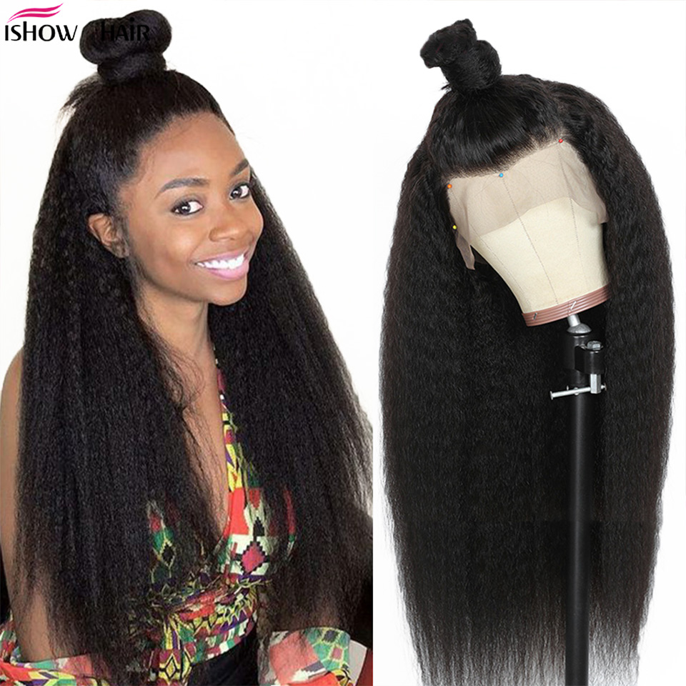 Ishow Yaki Straight Human Hair Wigs 4x4 Lace Closure Wig Brazilian Kinky Straight Lace Closure Wig 150% Density Remy Human Hair