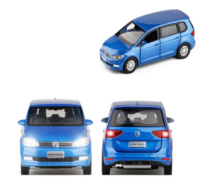 Image 3 - 1/32 Ratio Kids Toy Simulation VolkswageX Touran Toy Car Alloy Die casting Model Sound And Light Pull Back Toys Birthday Gift
