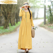 2019 Spring Dress for Women Long Yellow Retro Dress Casual Cotton and Linen Women's Dresses Korean Vestidos Largos 6616#(China)