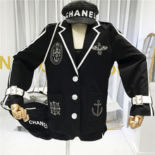 College Wind Women's Black Suit Jacket 2020 New Spring Retro Students Embroidere