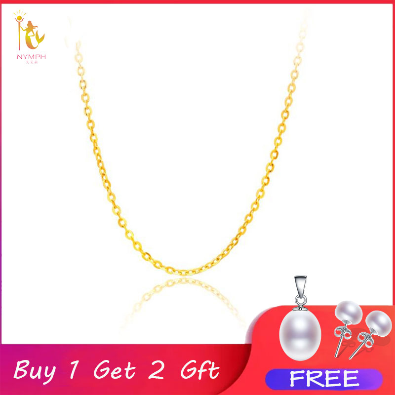 Price-Sale Necklace Chain-Cost Rose-Gold Yellow 18K Women Genuine White Best Gift NYMPH