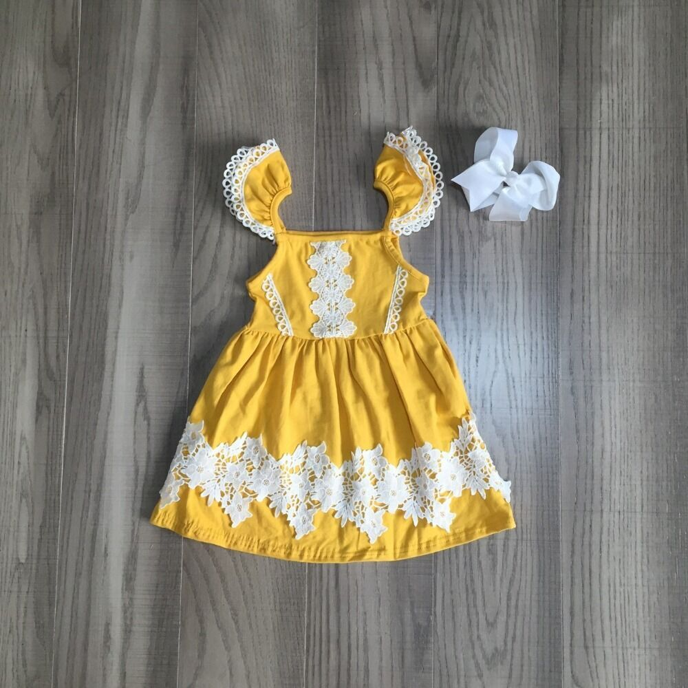 Baby Girls Summer Dress Girls Solid Yellow Dress Children Lace Dress With Bow