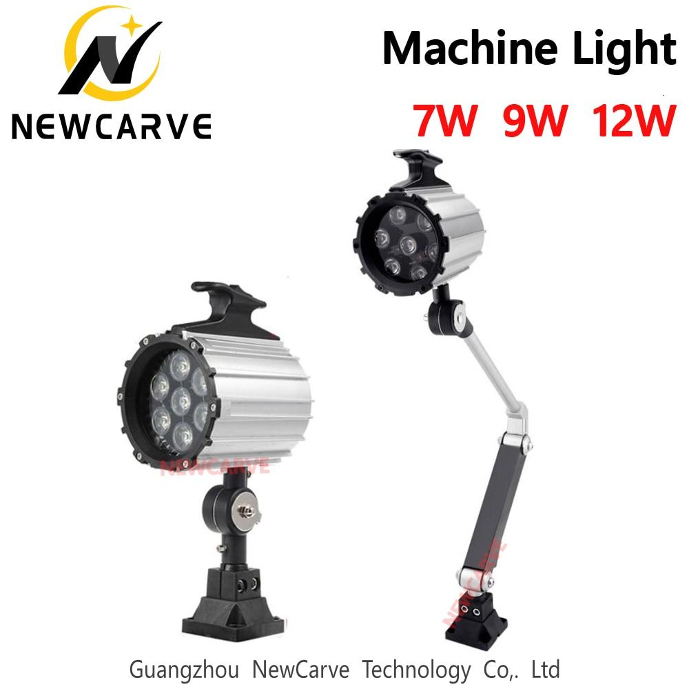 Máquina CNC de luz LED 7W 9W 12W 12V 24V 36V 110V 220V para herramientas industriales de trabajo lámparas de luz de brazo largo luces plegables NEWCARVE