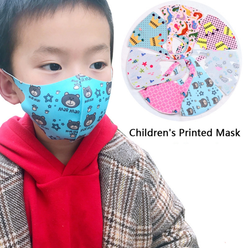 Random Color Kids Washable Print Mask Fashion Anti-Haze Anti-Dust Comfortable Mouth Face Mask For Girl And Boy