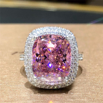 Huitan Personality Big Pink Cubic Zirconia Wedding Rings for Women Romantic Bridal Marriage Ceremony Party Rings Fashion Jewelry 2