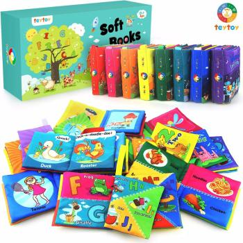 My First Soft Book,teytoy 8 PCS Baby Cloth Books Early Education Toys Activity Crinkle Cloth Book for Toddler, Infants