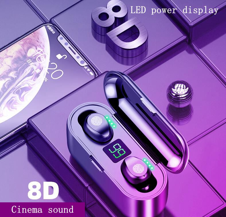 Binaural Bluetooth Headset Smart Touch Noise Reduction Power Display In-Ear Mini Waterproof Long-life Large-capacity Mobile Phon
