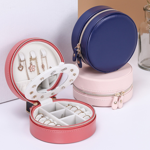 Portable Earring Storage Carrying Case Round Jewelry Box Travel Zipper PU Leather Jewellery Packaging Display Organizer