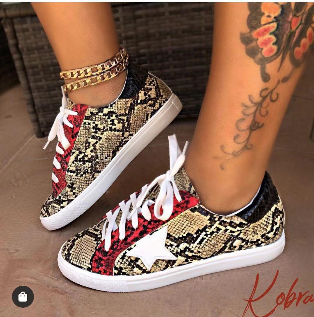 Leopard Cross-tied Sneakers Women 2019 Spring Summer Platform Knitting Flats Soft Walking Shoes Woman 9086