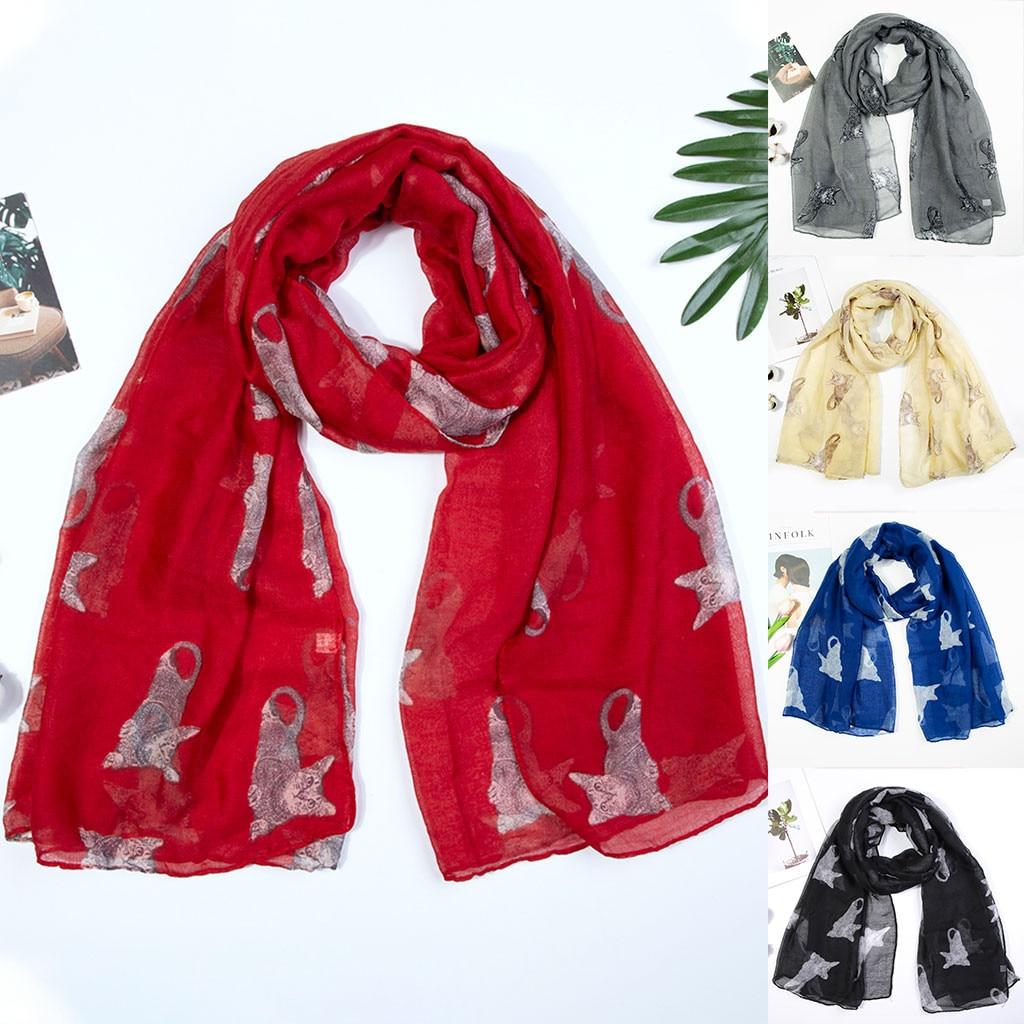 2020 new autumn Winter Women Ladies Cat Print Chiffon   Scarf     Wrap   Shawls Headband Soft Long   Scarf   print ladies   Scarf     Wrap   #10