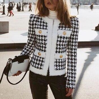 High Quality Autumn Winter Houndstooth Design Vintage Tweed Jacket Women's Zipper Tassel Short Slim Jackets Coat Outwear Female 1