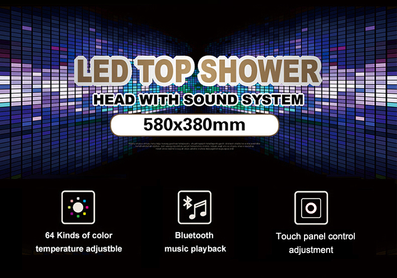 H6c7cf8c8e2ab45a0b44e93aae2fca54dQ M Boenn Luxury Shower Systems Set High Pressure Rain LED ShowerHeads Music Shower Panel Thermostatic Mixer Brass Bathroom Faucet