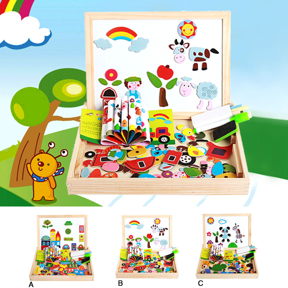 Portable Cartoon Kid Magnetism Jigsaw Drawing Board Puzzl Set Double-face Wooden Box Development Educational Toy Christmas Gifts