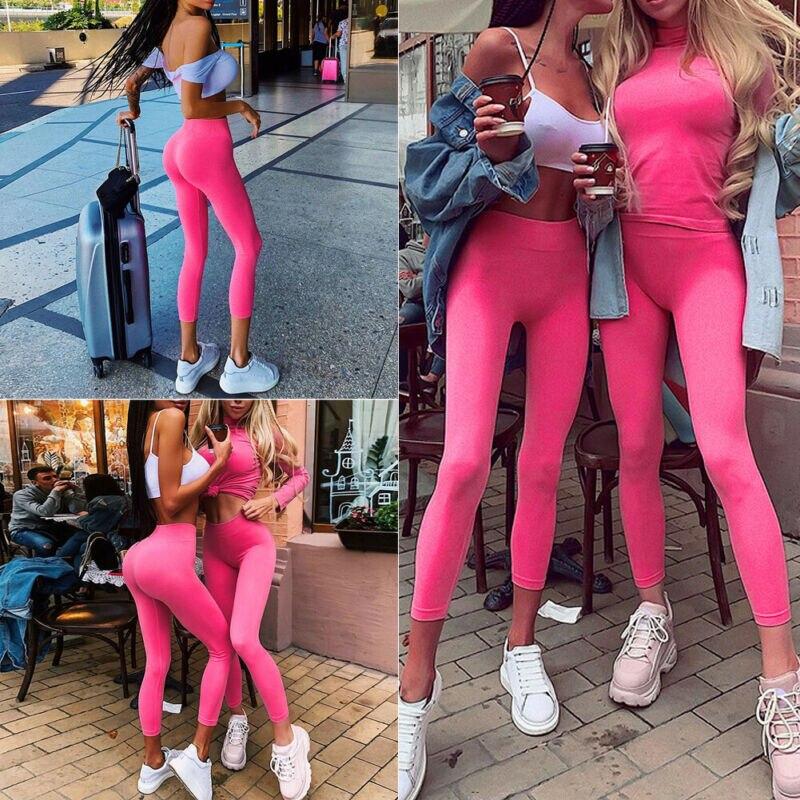 Womens Long Leggings Basic Full Ankle Length Stretch Cotton Span High Rise Waist Trouser Fitness Legging Fluorescence Pink Color