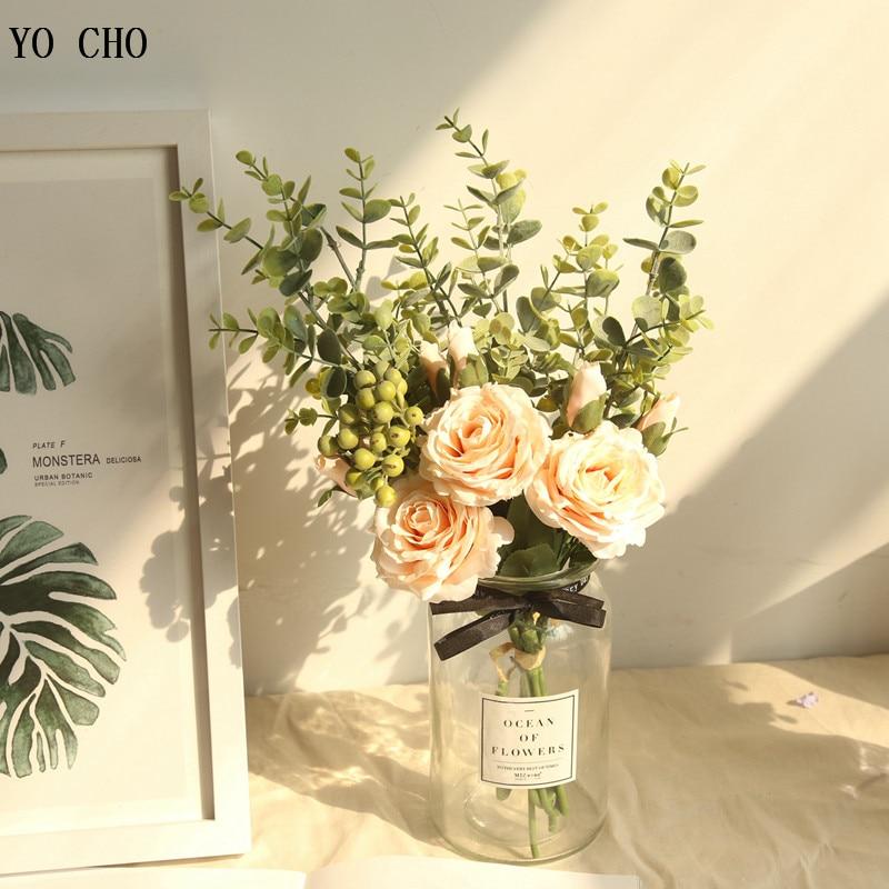 YO CHO Big Bunch Silk Roses Artificial Flowers Bundle Wedding Flowers Bride Bouquet Table Arrangement Home Decor Fake Flowers