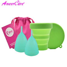 10pcs/lot feminine Vaginal Menstrual Cup Collapsible Sterilizer Cup Flexible Clean Camping Cup reusable menstruation collector