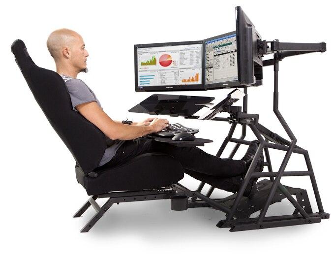 Ergonomics Multifunctional Computer Table Flight / Racing Game Seat Steering Wheel Bracket