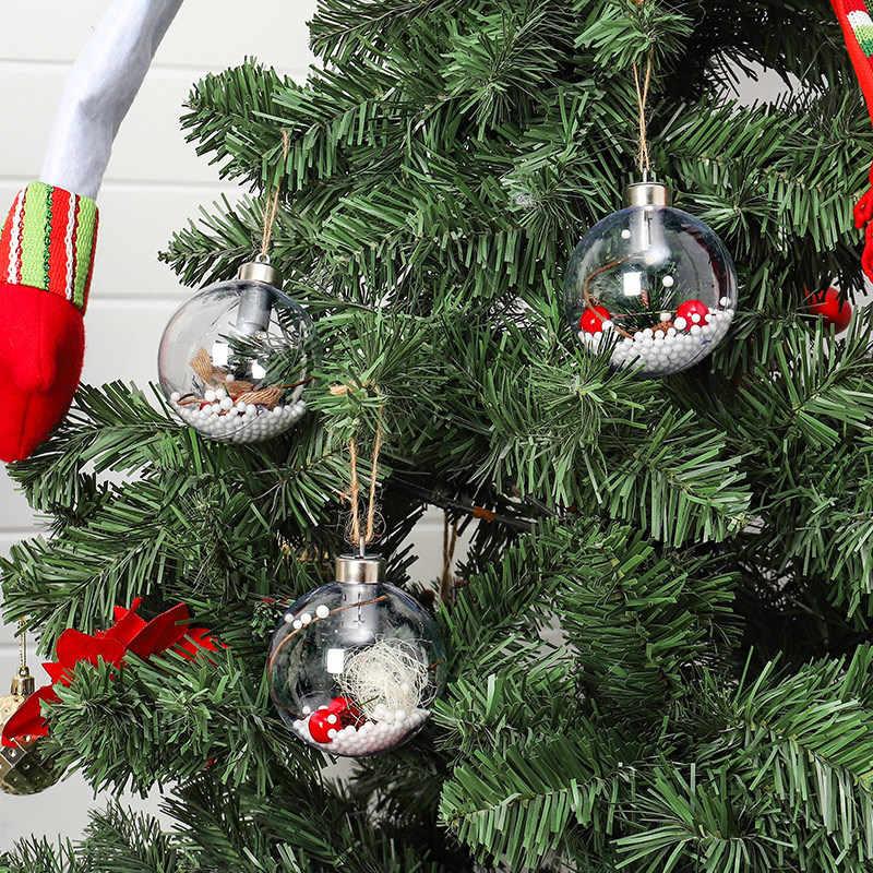 3 шт. прозрачная Елочная игрушка со светодиодной лампой Рождественская елка висячие украшения Рождественский светящийся кулон подвесной шар Рождественский Декор