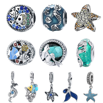 BISAER Dropshipping 925 Sterling Silver Mermaid Tail Starfish Tropical Fish Beads Charms fit Charm Bracelets Jewelry - discount item  30% OFF Fine Jewelry