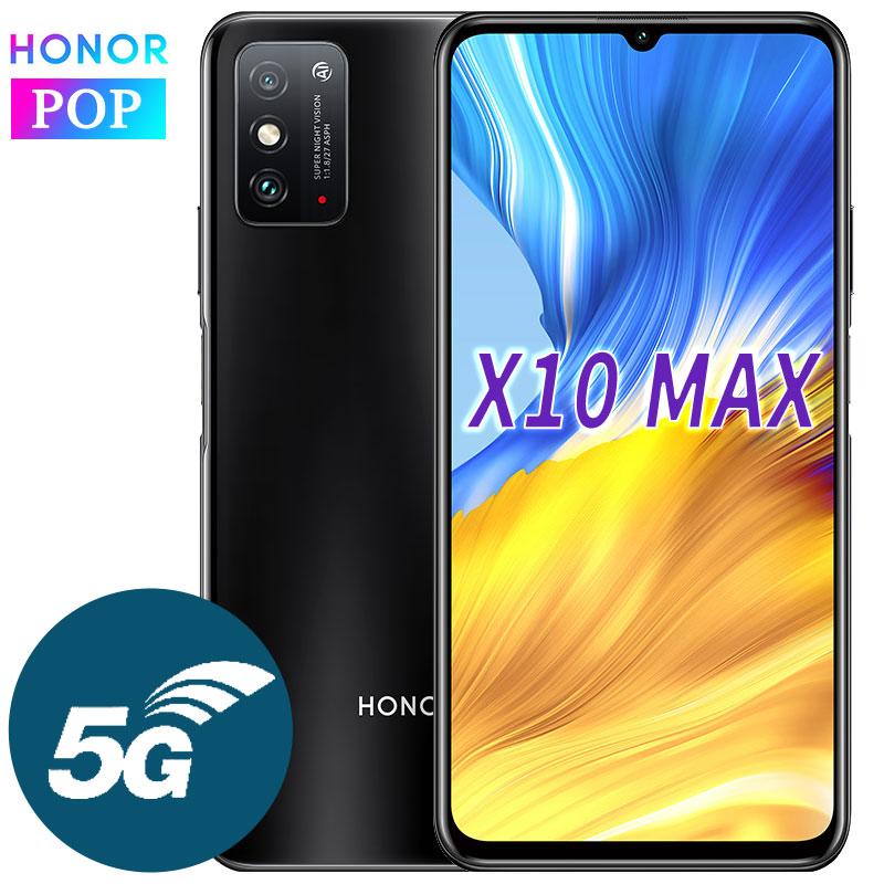 HONOR X10 Max 5G telefon komórkowy 7.09 cala RGBW duży ekran 6GB 128GB MT6873 Octa Core 22.5W SuperCharge wielozadaniowy 5000mAh