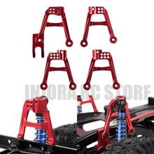 4 sztuk CNC aluminium czerwony przód i tył 1/10 amortyzatory zamontować dla gąsienica RC oś samochodu SCX10 II cześć zapasowa