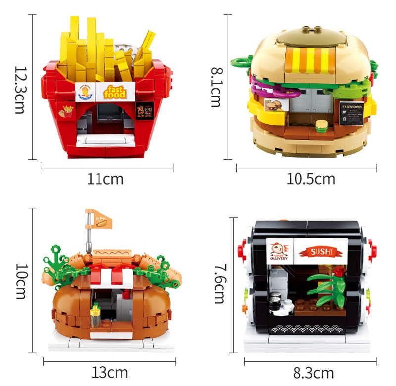 Thành Phố SEMBO Khối Kiến Trúc Thành Phố McDonalding Thức Ăn Đường Phố Hamburger Store Shop Khối Xây Dựng Gạch Đồ Chơi Hàm Tạo