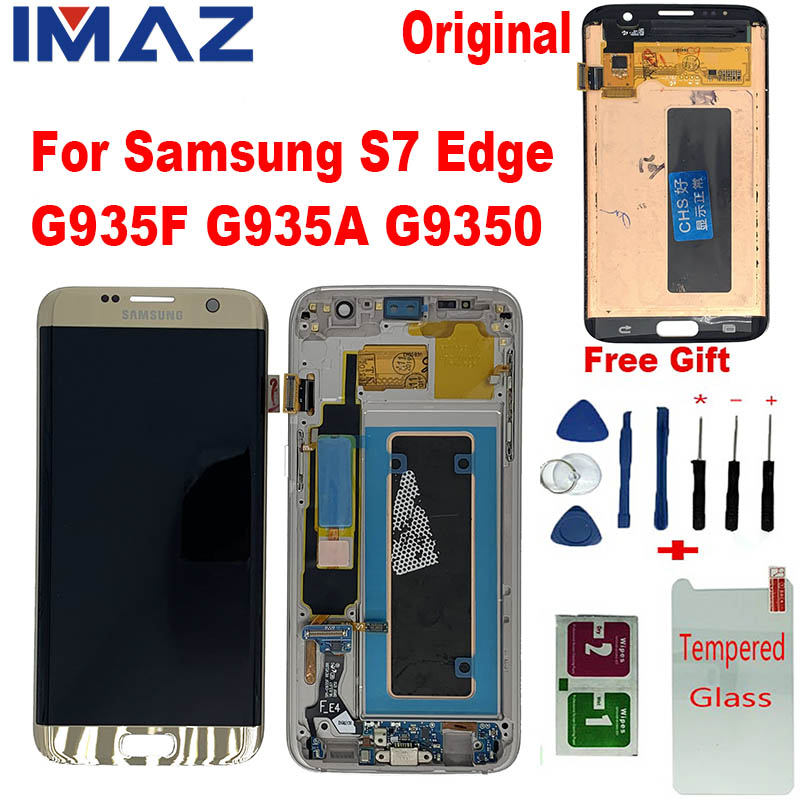 IMAZ Original with the Burn-Shadow LCD For <font><b>Samsung</b></font> <font><b>Galaxy</b></font> <font><b>S7</b></font> Edge G935F G935A G9350 LCD <font><b>Display</b></font> Touch Screen Digitizer Assembly image