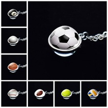 Football Basketball Volleyball Necklace Sport Pendant Silver Chain Double Side Glass Ball Men Women Jewelry