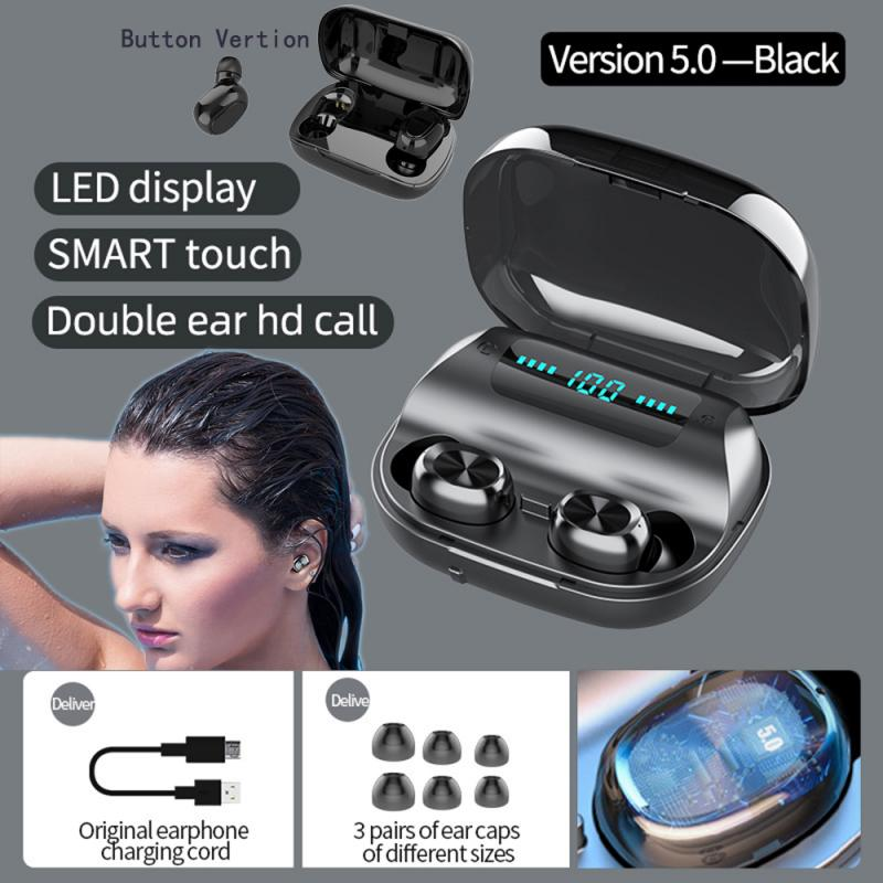 F9 Wireless Bluetooth Earphone Touch Button <font><b>TWS</b></font> <font><b>Earbud</b></font> HIFI Headphones In ear Gym Sports Running Headset LED Display Phones MIC image