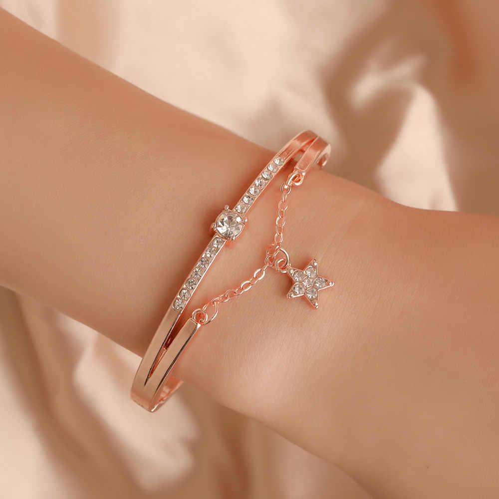 CZ מעוקב Zirconia סגסוגת מתכת כסף צבע עלה זהב צבע חמישה כוכבים תליון קסמי צמיד צמיד לנשים