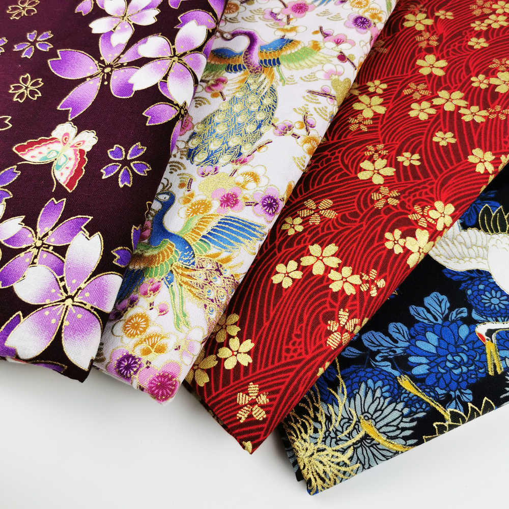 100% Cotton Linen Japanese Cherry Blossom Bronzing Fabric, Precut Sewing Bronzed Fabric Patchworks Quilting DIY Fabric
