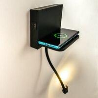 Zerouno wall lamp light fixture flexible hose LED home decor wall mount usb wireless charger shelf bedside reading night lights