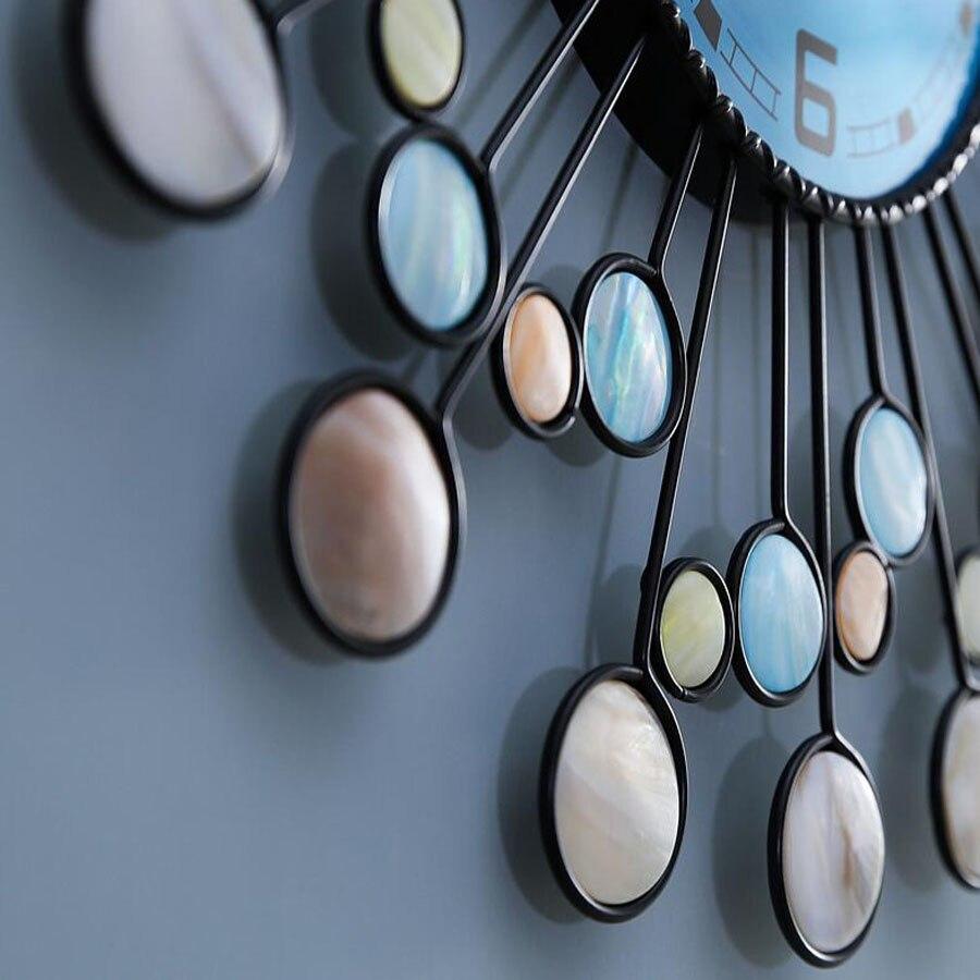 Grande Design Moderno Relógio de Parede Sala de estar Decoração do Metal Ferro Mediterrâneo Relógios de Luxo Relógio de Parede Home Decor Silencioso 58 cm - 4