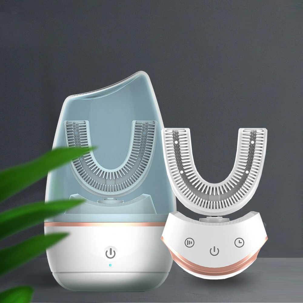ใหม่ล่าสุด 360 แปรงสีฟันไฟฟ้าอัตโนมัติ sonic แปรงสีฟันไฟฟ้า U ประเภทแปรงไฟฟ้าผู้ใหญ่ Ultra sonic แปรงสีฟัน