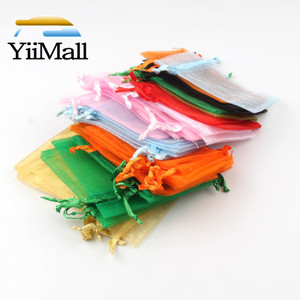 50pcs 5x7 7x9 9x12 13x18CM Organza Bags Jewelry Packaging Bags Wedding Party Decoration Drawstring Bags Gift Packaging Pouches