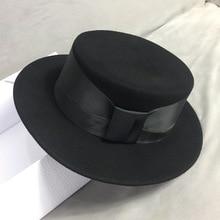 New Elegant Black Winter Hat Wide Brim Felt Ribbon Bowknot Ladies Fedoras Party Wedding Church for Women Adjustable