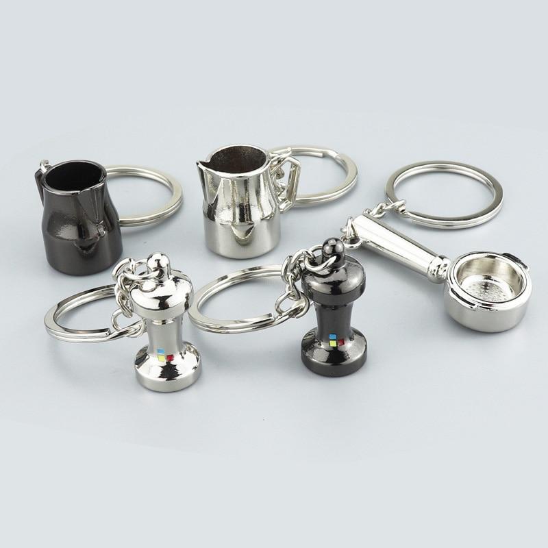Metal Coffee Keychain Coffee Tamper Design Charm Keychain Key Ring